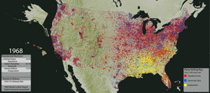 Dot Density Maps Of Votes For President 1840 2008